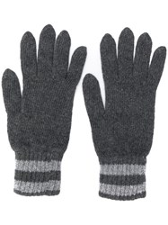 Pringle Of Scotland Marl Tuck Stitch Gloves Grey