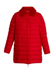 Moncler Gamme Rouge Winnipeg Fur Trimmed Quilted Down Cashmere Coat Red