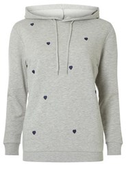 Dorothy Perkins Grey Heart Embroidered Hoodie