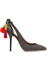 Dolce And Gabbana Ayers Trimmed Pompom Embellished Cutout Raffia Pumps Charcoal