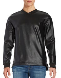 Laboratory Lt Man Perforated Faux Leather Sweatshirt Black
