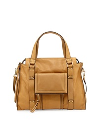 Kooba Rhodes Grained Leather Satchel Bag Camel
