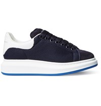 Alexander Mcqueen Exaggerated Sole Mesh Leather And Suede Sneakers Blue