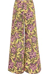 Red Valentino Redvalentino Floral Print Stretch Cotton Wide Leg Pants Yellow