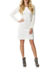 Laundry By Shelli Segal Ponte And Cable Knit Sheath Dress Warm White