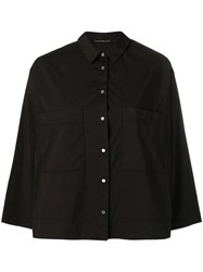 Transit Oversized Chest Pockets Shirt Black