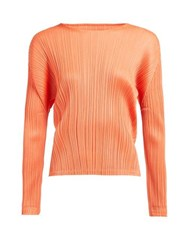 Pleats Please Issey Miyake Round Neck Pleated Top Coral