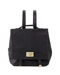 Neiman Marcus Jo Crocodile Embossed Flap Top Backpack Black