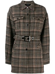 Pinko Check Print Belted Jacket Brown