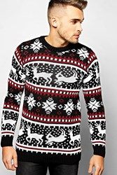 Boohoo Reindeer And Fairisle Christmas Jumper Black