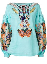 Yuliya Magdych Harvest Embroidered Top Linen Flax S Blue