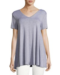 Chelsea And Theodore Double V Neck Swing Top Light Gray
