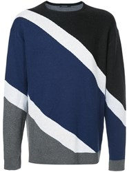 Guild Prime Striped Colour Block Sweater Black