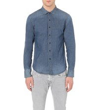 Replay Washed Stretch Denim Shirt Blue Wash