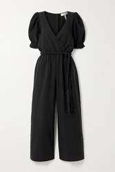 Apiece Apart Chabrol Belted Wrap Effect Tencel And Linen Blend Jumpsuit Black