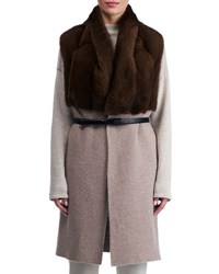 Gorski Belted Long Cashmere Vest With Mink Fur Brown