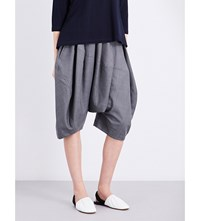 Comme Des Garcons Cropped Dropped Crotch Wool Blend Trousers Grey