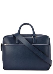 Valextra Navy Grained Leather Briefcase