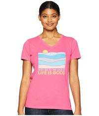 Life Is Good Take Me To The Ocean Crusher Vee T Shirt Fiesta Pink T Shirt