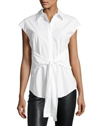 Alexander Wang Collared Tie Front Poplin Shirt White