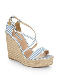 Tabitha Simmons Jenny Striped Espadrille Wedge Sandals Blue