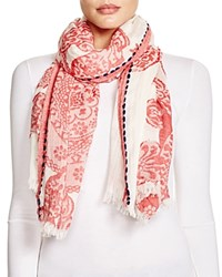 Fraas Paisley Border Stitch Scarf Red