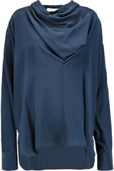 See By Chloe Draped Silk Crepe De Chine Blouse Indigo