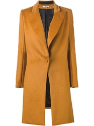 Bouchra Jarrar Peaked Laped Buttoned Coat Yellow And Orange