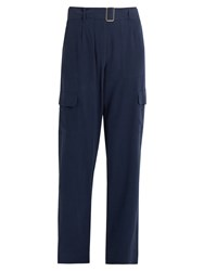 Equipment Manon Silk Cargo Trousers Navy