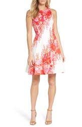 Maggy London Fit And Flare Dress Soft White Orange