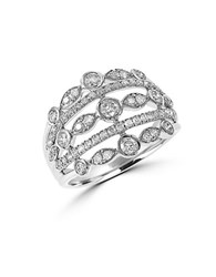 Effy Diamond And 14K White Gold Open Ring 0.88Tcw Silver