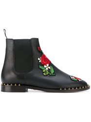Charlotte Olympia Rose Patch Chelsea Boots Women Leather 39 Black