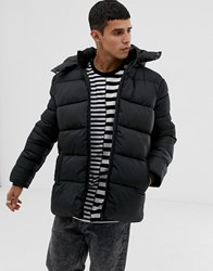 Only And Sons Hooded Puffer Jacket Black