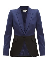 Alexander Mcqueen Colour Block Single Breasted Wool Blazer Navy Multi