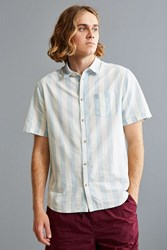 Urban Outfitters Uo Broad Stripe Short Sleeve Button Down Shirt White