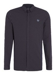 Fred Perry Men's Polka Dot Print Long Sleeve Shirt Navy