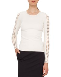 Akris Punto Dot Cutout Knit Pullover Cream