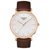 Tissot T1096103603100 Men's T Classic Everytime Leather Strap Watch Dark Brown White