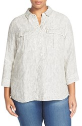 Plus Size Women's Caslon Print Three Quarter Sleeve Shirt