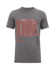 Rick Owens Drkshdw Level Printed Cotton Jersey T Shirt Grey
