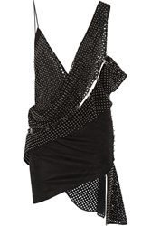 Anthony Vaccarello Studded Perforated Faux Suede Mini Dress Black