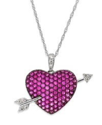 Macy's Ruby 1 9 10 Ct. T.W. And Diamond 1 10 Ct. T.W. Heart Pendant Necklace In Sterling Silver