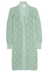 Alexander Lewis Groupie Open Knit Cotton Cardigan Green