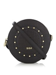 Biba Stud Circle Crossbody Leather Bag Black
