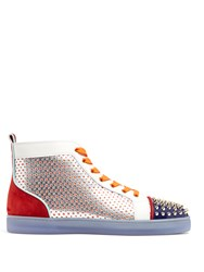 Christian Louboutin Louis Contrasting High Top Leather Trainers Multi