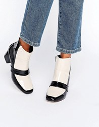 Asos Ranora Loafer Ankle Boots Black Ivory