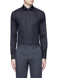 Armani Collezioni Slim Fit Cotton Silk Tuxedo Shirt Black