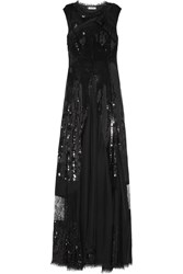 Nina Ricci Sequined Tulle Silk And Lace Gown Black