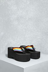 Forever 21 Rocket Dog Rainbow Platform Sandals Black Multi