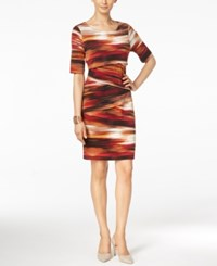 Connected Printed Tiered Sheath Dress Rust